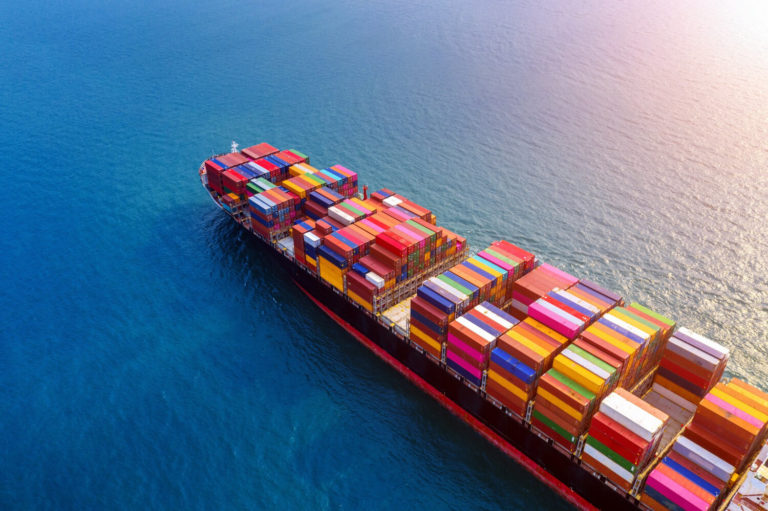 aerial view container cargo ship sea
