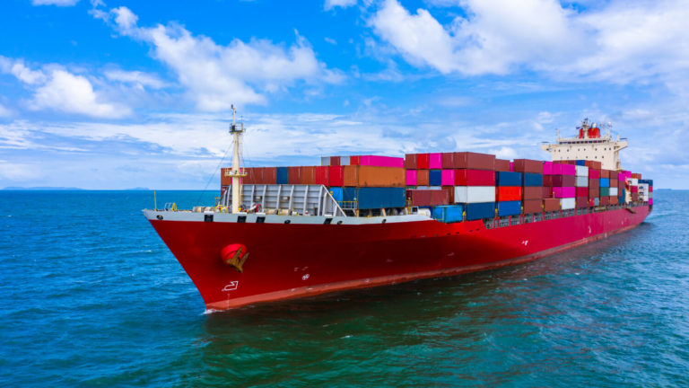 container cargo ship carrying container business freight import export