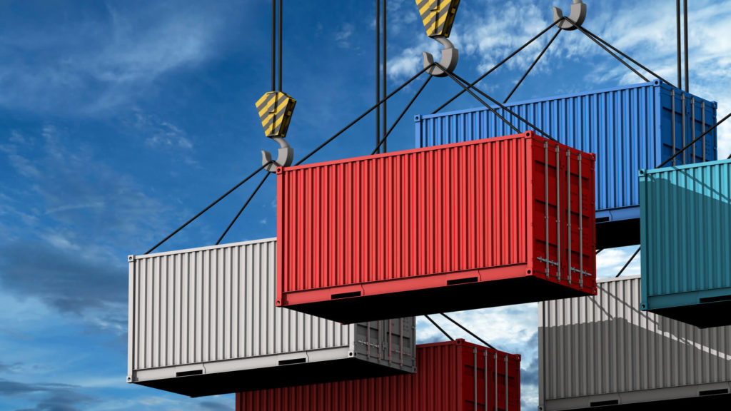 crane hook with cargo container
