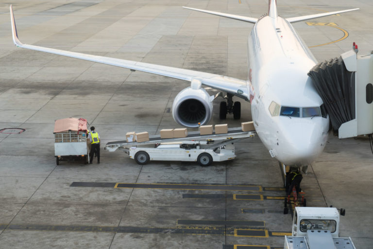 loading cargo plane airport cargo airplane loading unloading airport